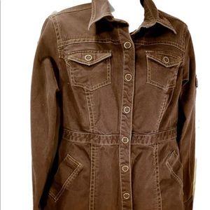 CAbi large Halftime safari snap front jacket brown